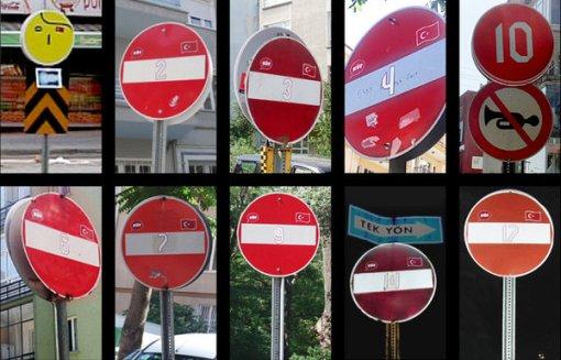 Locos por el fútbol: señales de stop imitando la camiseta de la selección